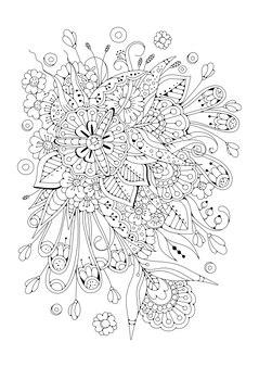 黒白の抽象的な花。着色のための垂直ページ。