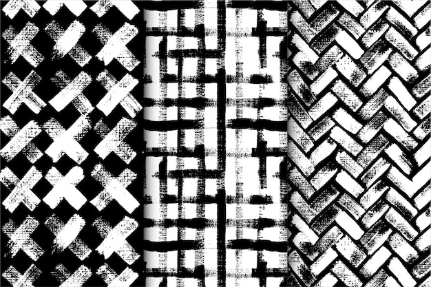 Black and white abstract hand drawn pattern