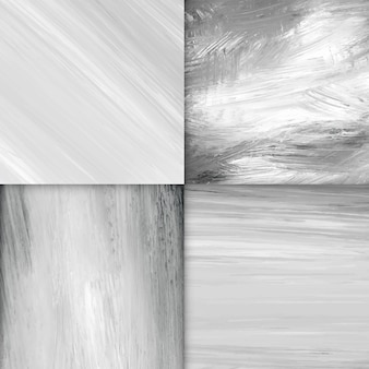Black and white acrylic brush stroke textured background vector set