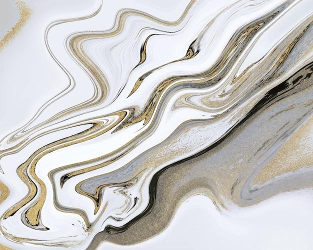 Черный, белый и золотой блеск жидкой мраморной текстуры. тушь абстракция