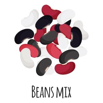 검정, 흰색 및 붉은 콩은 템플릿 농부 시장 디자인, 라벨 및 포장을 위해 혼합됩니다. 천연 에너지 단백질 유기농 슈퍼 푸드. 벡터 만화 격리 된 그림입니다.