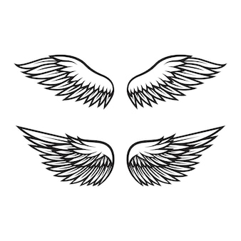 Black and white angel wings vector