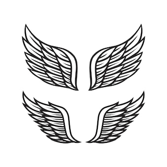 Black and white angel wings