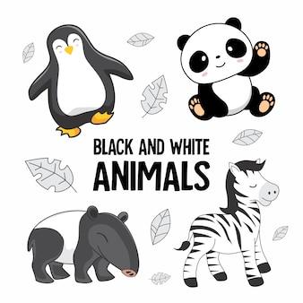 Black and white animals cartoon set