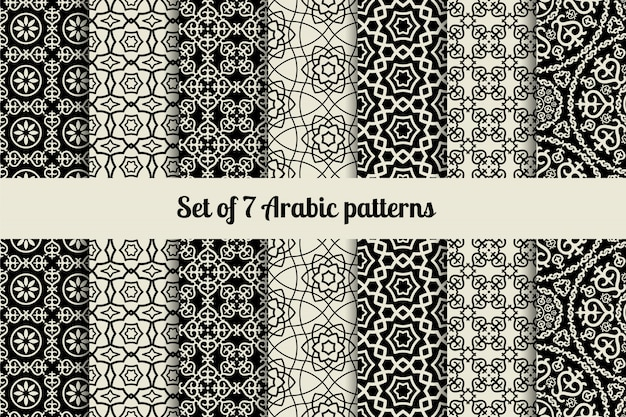 Black and white arabic style patterns