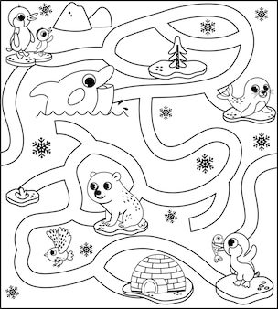 Black and white arctic animals maze game for kids vector illustration