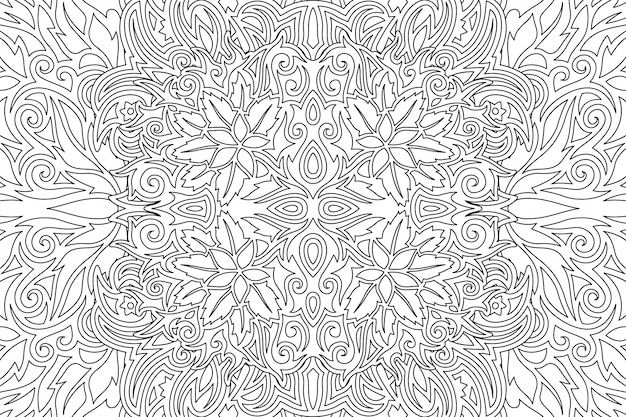 Black and white art with linear floral pattern