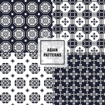 Black and white asian patterns