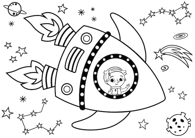Black and white astronaut having journey in the space painting activity isolated on white