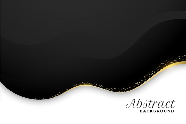 Black and white background in wavy style with golden sparkle