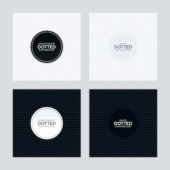 Black and white background with circular dotted textures