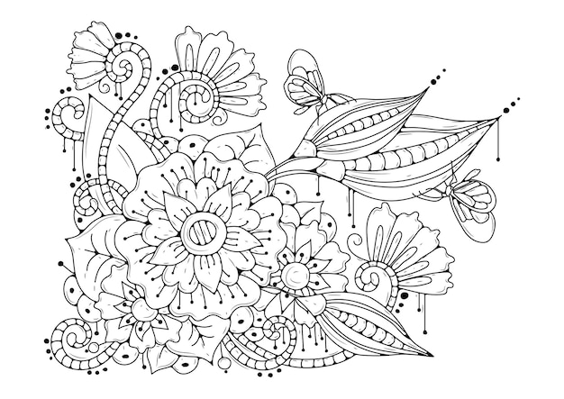 Black-white background with flowers and butterflies. coloring page.