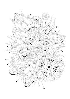 花と白黒の背景。ぬりえ。