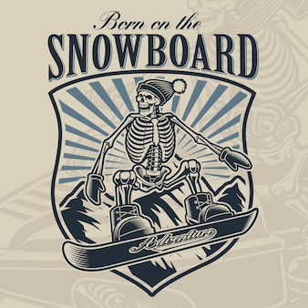 Black and white badge of a skeleton on the snowboard on light background.
