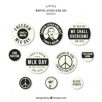 Black and white badges ready for martin luther king day