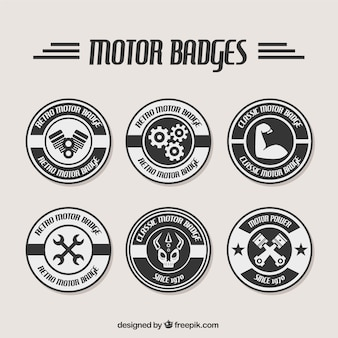 Black and white badges for repair shops