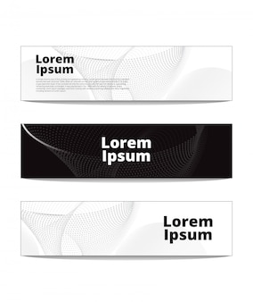 Black and white banners with dot