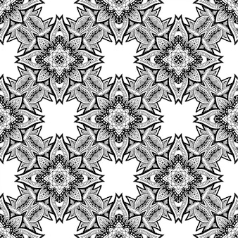 Black and white batik seamless pattern, batik indonesian is a technique of wax-resist dyeing applied to whole cloth