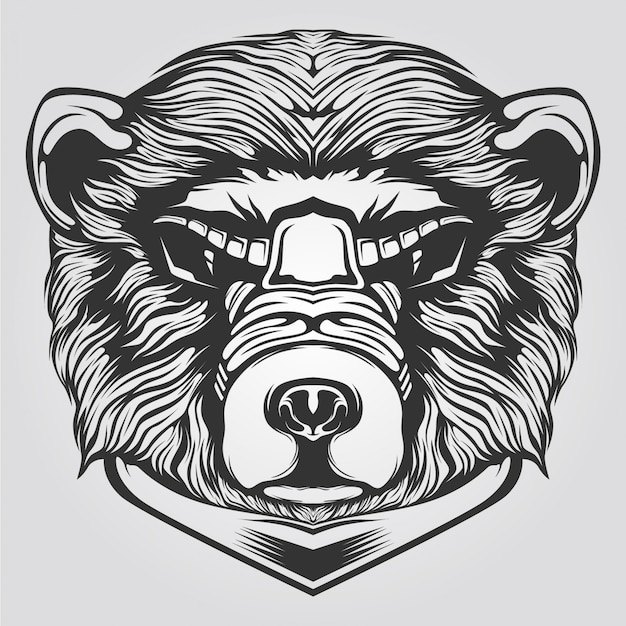Black and white bear line art for tatto or coloring book