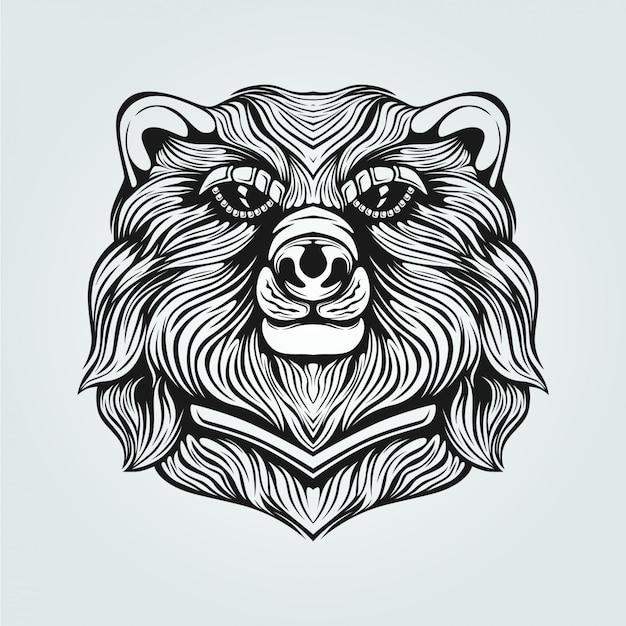 Black and white bear line art