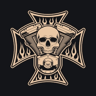 Black and white  bikers cross with motorcycle engine.  this  can be uses as a logo, apparel designs