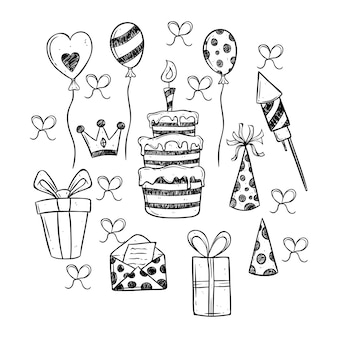 Black and white birthday party icons set