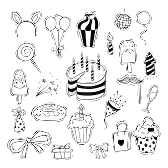 Black and white birthday party icons with cupcake