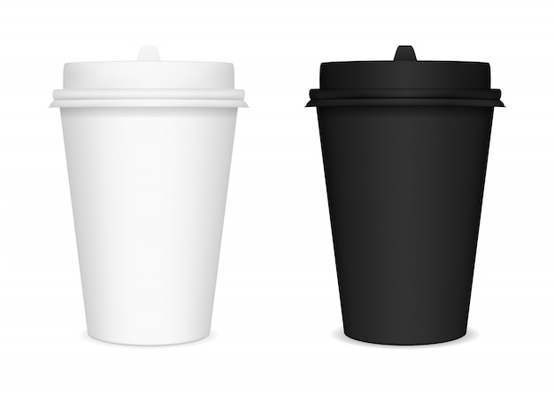 Black and white blank closed paper cups