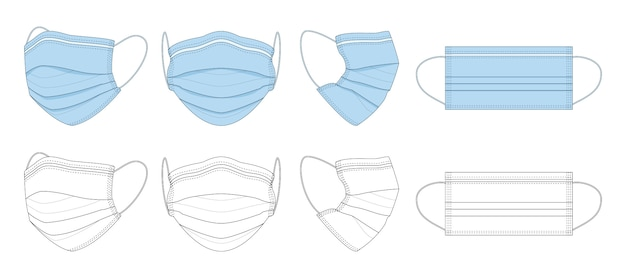 Black and white, blue hand-drawn medical mask.