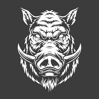 Black and white boar head