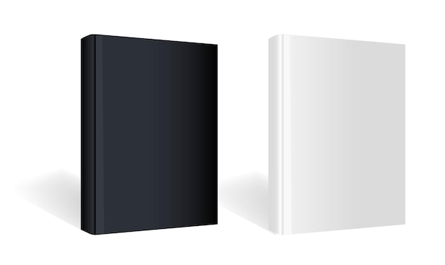 Black and white books isolated with gradient mesh