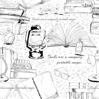 Black and white books reading seamless