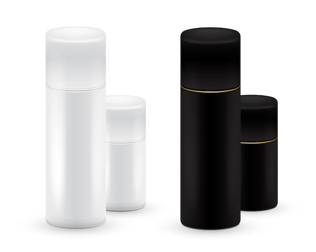 Black and white bottles of aerosol spray, metal bottle for cosmetic, perfume or hairspray. deodorant packing.
