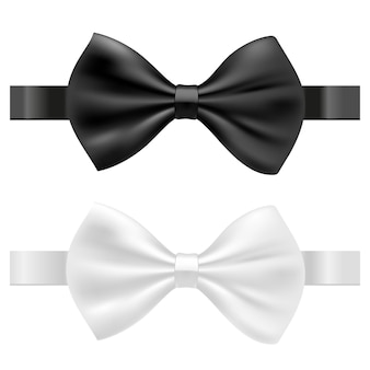 Black and white bow tie vector illustration isolated