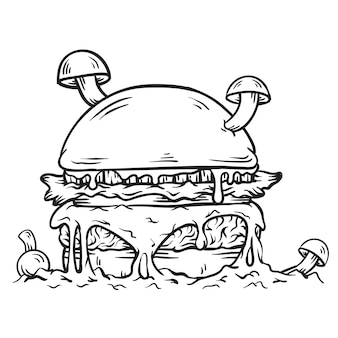 Black and white burger illustration with mushroom and melted mozarella cheese