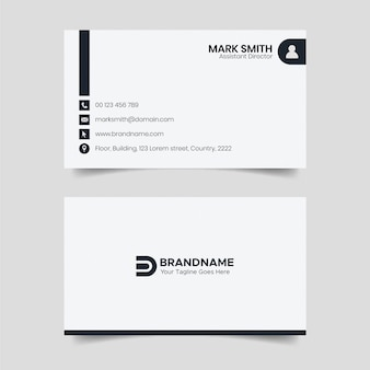 Black and white business card design, law firm legal style visiting card