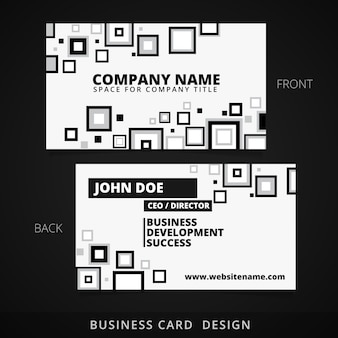Black and white business card design with square shapes
