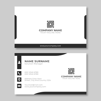 Black and white business card flat design
