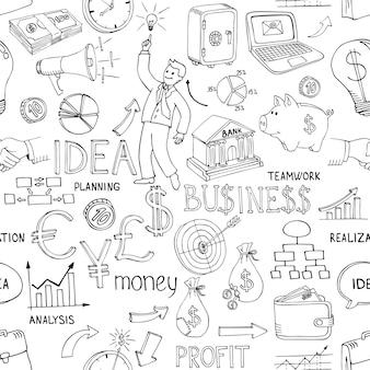 Il business in bianco e nero scarabocchia il modello senza cuciture con una varietà di icone che raffigurano idee e strategie di grafici di analisi del denaro sparse in un disegno vettoriale casuale
