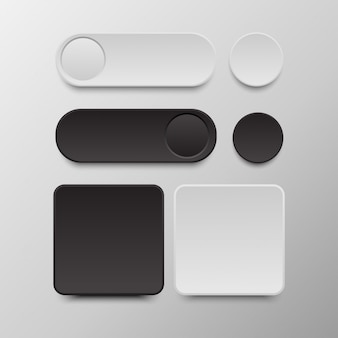 Black and white button set round and square buttons