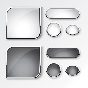 Black and white button set