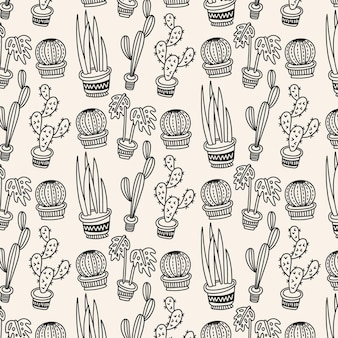 Black and white cactus pattern
