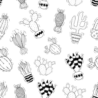 Black and white cactus in seamless pattern with doodle style