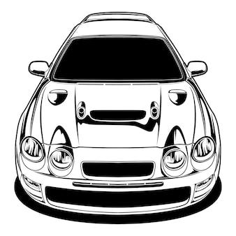 Black and white car illustration for conceptual design.