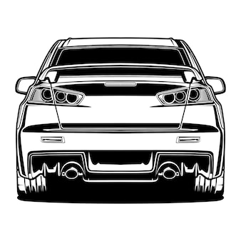 Black and white car illustration
