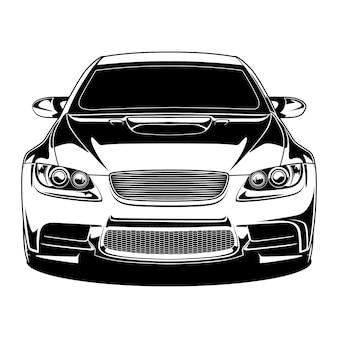 Black and white car illustration