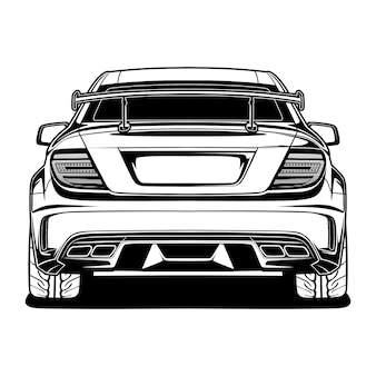 Black and white car isolated on white