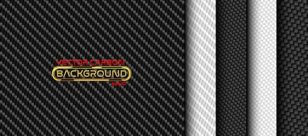 Black and white carbon fiber seamless background set. textures collection