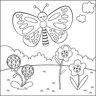 Black and white cartoon butterfly character vector illustration