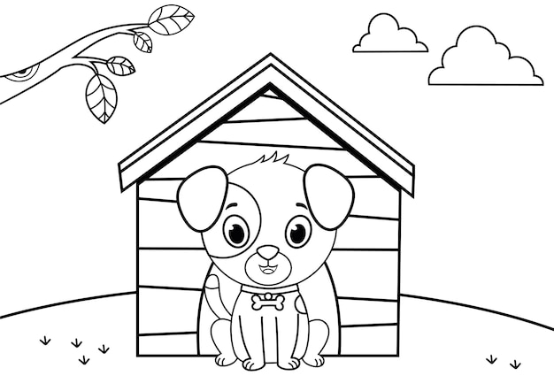 Black and white cartoon dog character for painting activity vector illustration